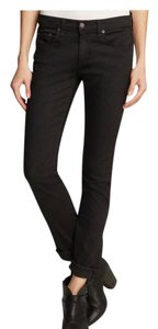 Rag & Bone/Jean Black Denim Open Hem Frayed Hem Straight Leg Jeans-Dark Rinse