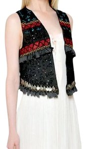 Mes Demoiselles Bohemian Festival Embellished Coin High Low Classic Chic Vest