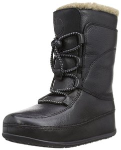 FitFlop Leather Mukluk Shearling Lined Black Boots