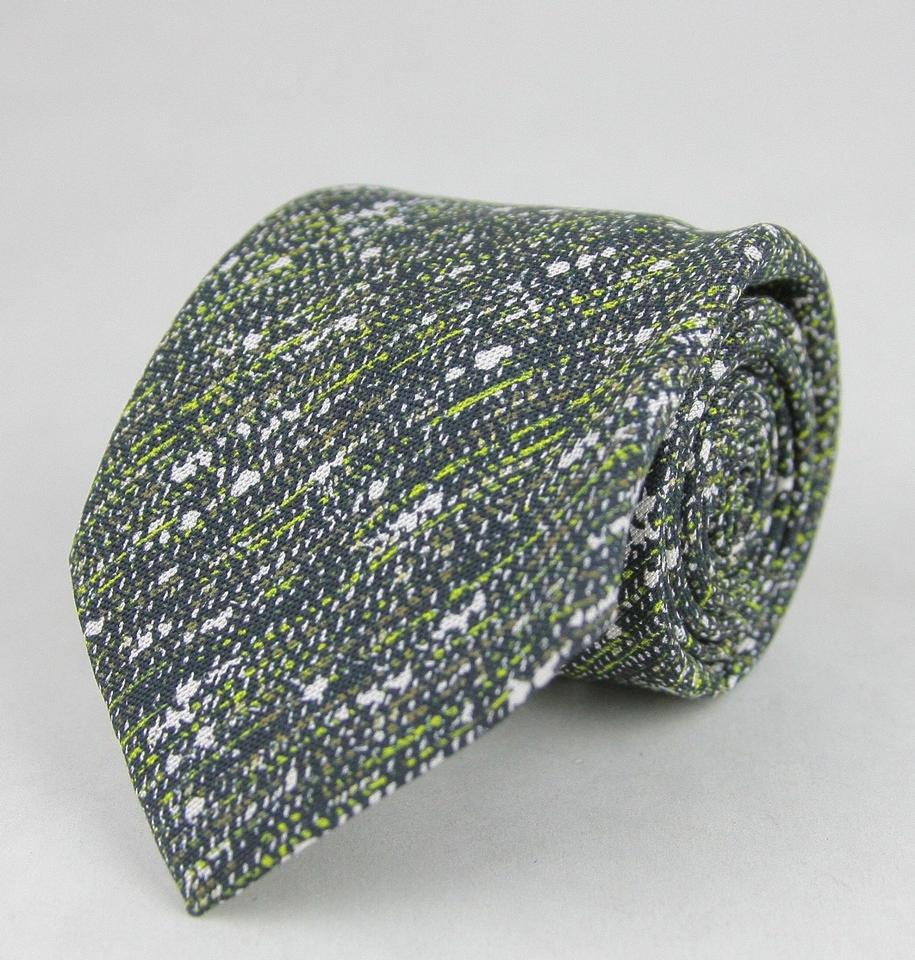 3e00ef23ed336 Bottega Veneta Green White Brown Striped and Splatter Pattern 376672 2067  Tie Bowtie ...