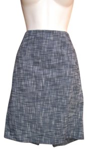 Magaschoni Textured Mini Spring Summer Pencil Mini Skirt Blue/Ivory