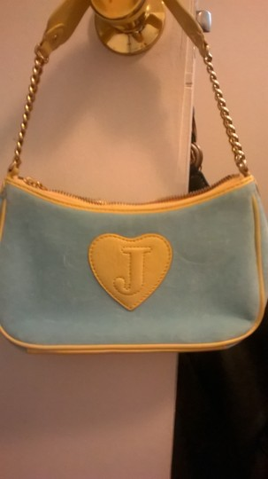 "Juicy Couture ""Lowest Price"" Velour Leather Trim Geniune Shoulder Bag"