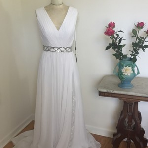 White Chiffon/Poly Blend ? Sequin By Retro Wedding Dress Size 4 (S)