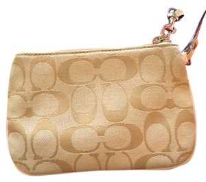 Coach Monogram Going Out Wristlet in Beige