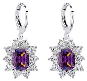 Purple Crystal Flower Halo Drop Dangle Earrings Platinum Plated Purple Crystal Flower Halo Drop Dangle Earrings Platinum Plated