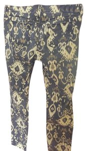 SOLD Design Lab Print Warm Earth Tones Straight Pants Aztec tan/black/brown