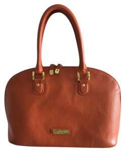 Joy & IMAN Leather Tote in Orange