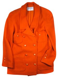 Chanel Vintage Blazer Suit Cc Logo Orange Jacket
