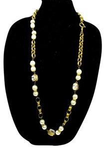 Chanel PEARL CRYSTAL NECKLACE - VINTAGE GOLD QUILTED CHAIN CHARM CC LOGO 23