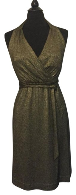 Item - Gold Halter Mid-length Night Out Dress Size 6 (S)