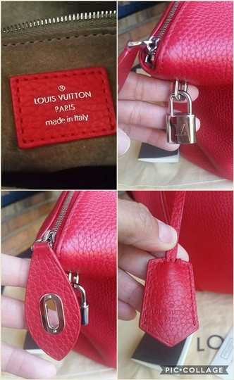 Louis Vuitton Tote Taurillon Neverfull Holiday Satchel in Red