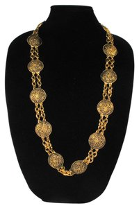 Chanel MEDALLION NECKLACE - GOLD COIN CC CHARM BELT CHAIN CIRCLE VINTAGE 1985