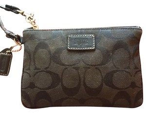 Coach Monogram Wristlet in Black