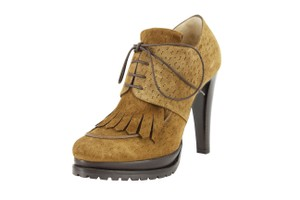 Giorgio Armani Suede Women Lace Up Fringe Brown Boots