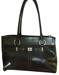 Gianni Bini Patent Leather Hardware 8 Roomy Compartments Satchel in Black w/ silver accents