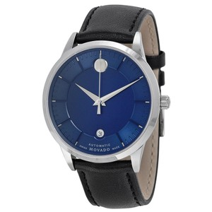 Movado Movado 1881 Automatic Blue Dial Black Leather Band Mens Watch 0606874
