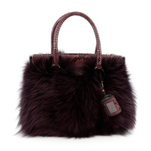 Prada Python Fur Satchel in purple