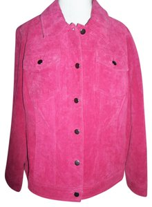 twiggy LONDON 1x Tailered Suede Buttons Pink Leather Jacket
