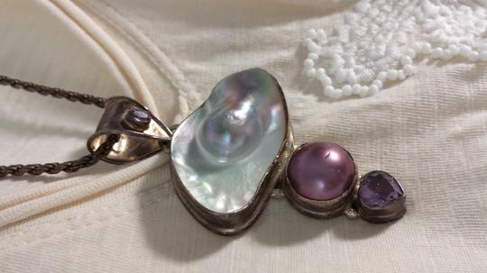 Vintage one of a kind Vintage Rare Cultured White Tone Blister Pearl and Amethyst Sign 925 Sterling Artisan Necklace