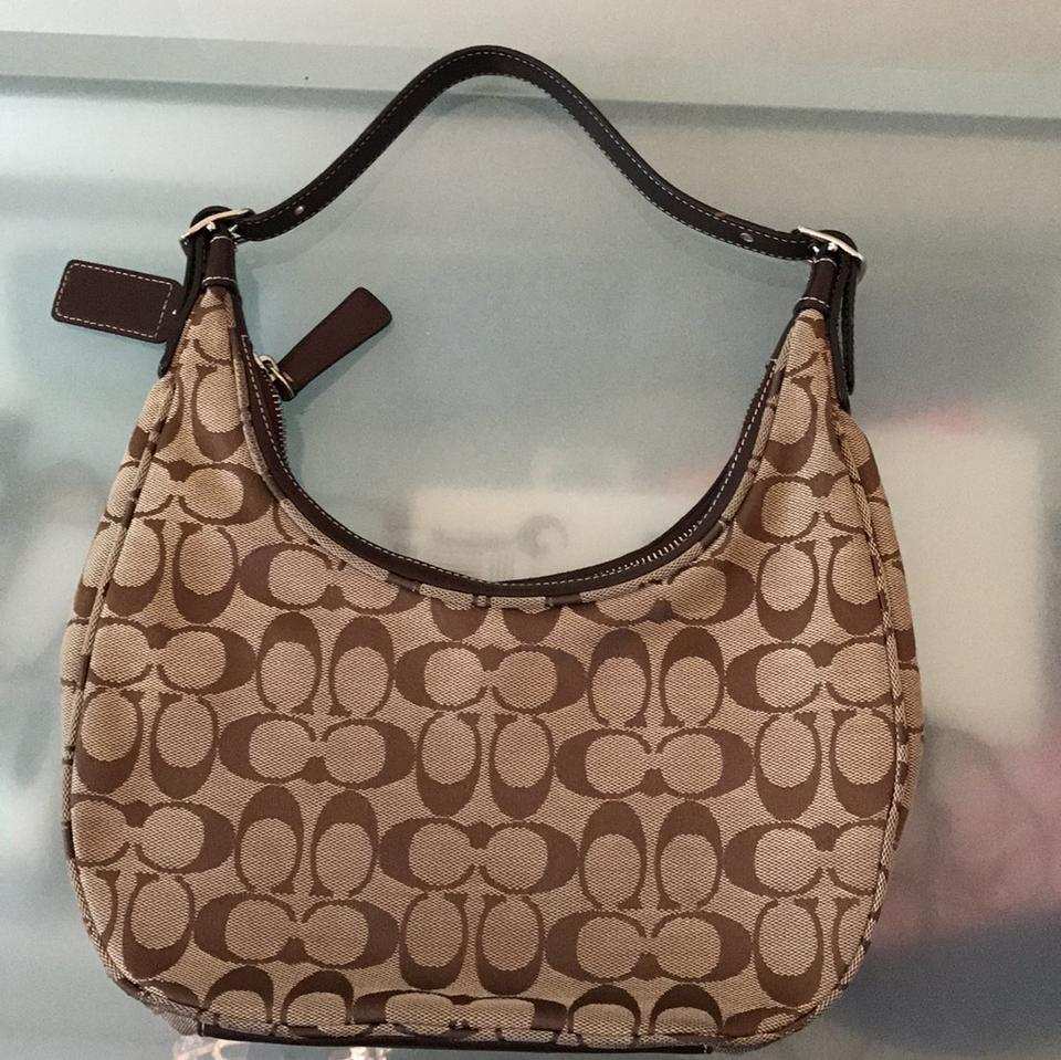 Coach Brown Canvas Material W Leather Hobo Bag