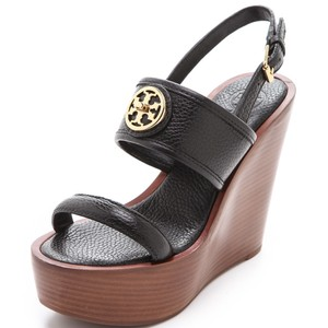 Tory Burch black Gold Wedges