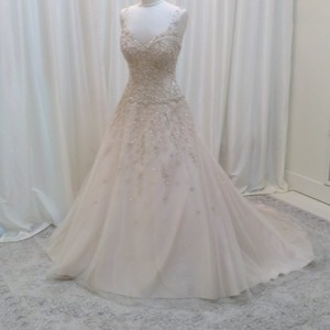Justin Alexander Champagne/Silver Beaded Lace/Tulle 8813 Traditional Wedding Dress Size 10 (M)