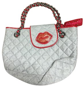 Betsey Johnson Tote in grey & red