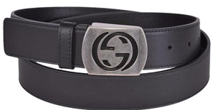 Gucci New Gucci Men's 387031 Black Leather Cut Out Palladium GG Belt 38 95
