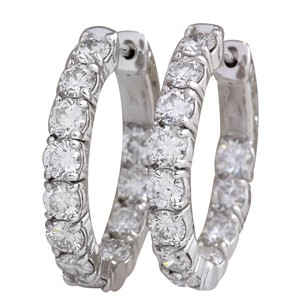 Fashion Strada 3.40CTW Natural Diamond Hoop Earrings 14K Solid White Gold