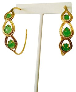 Alexis Bittar Faceted Green Chrysoprase & Crystal Gold Hoop Earrings