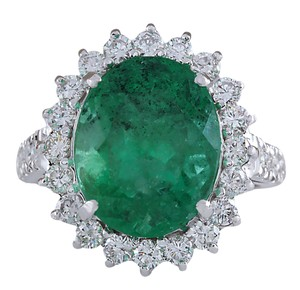 Fashion Strada 8.93CTW Natural Colombian Emerald And Diamond Ring In 14K White Gold