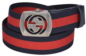 Gucci New Gucci Men's 387032 Blue Red Web Cut Out Palladium GG Belt 105 42