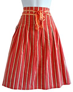 Old Navy Stripes Striped Midlength Highwaist Skirt Pink