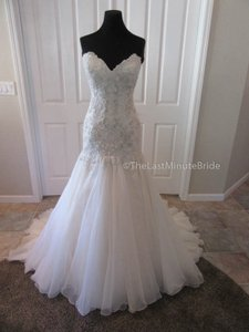 Maggie Sottero Ivory/Lt Gold/Pewter Lace & Organza Baxter 6mg800 Feminine Wedding Dress Size 10 (M)