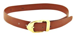 Louis Vuitton Brown Taiga Leather Belt Gold Buckle
