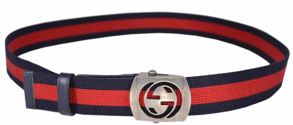 7c7f11945 Gucci New Gucci Men's 387032 Blue Red Web Cut Out Palladium GG Belt 100 40  Image. 1234567