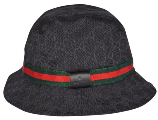 gucci new gucci 200036 gg guccissima black web stripe fedora bucket hat xs. Black Bedroom Furniture Sets. Home Design Ideas