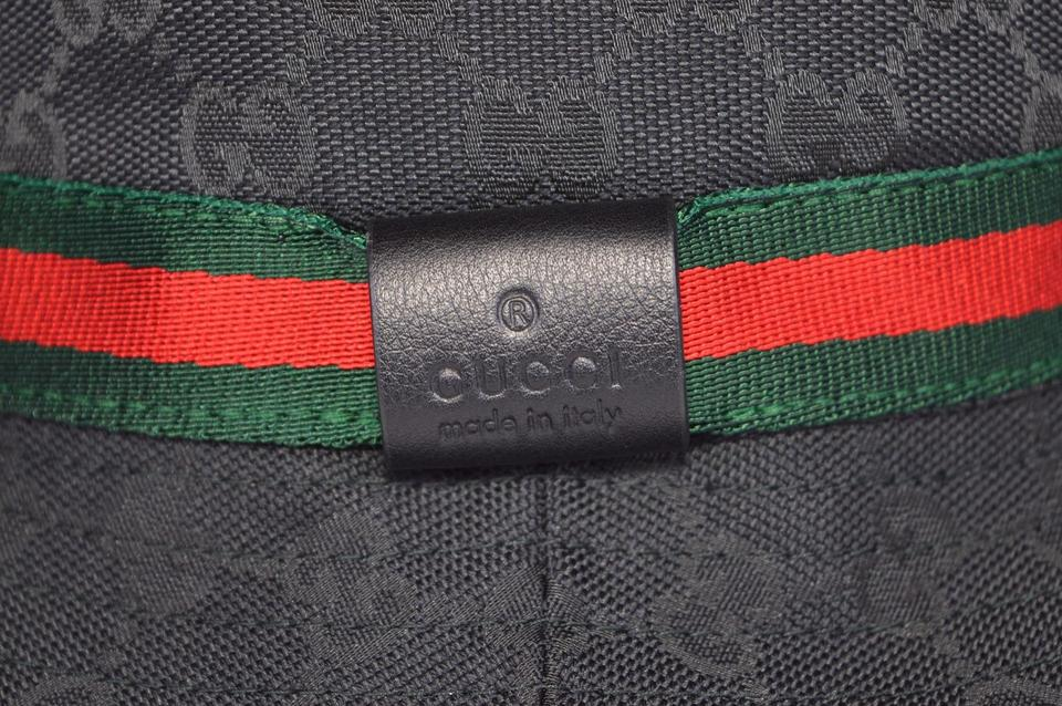 8b56e57f7197c Gucci NEW GUCCI 200036 GG Guccissima Black Web Stripe Fedora Bucket Hat XS  Image 5. 123456