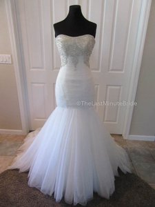 Allure Bridals Ivory/Silver Tulle 9258 Formal Wedding Dress Size 8 (M)