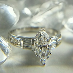 Other 1ct Marquise Cut Man Made Diamond 14k Solid White Gold Size 5 6 7 8 9