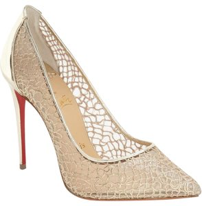 Christian Louboutin Follie Lacy Lace Pointed Toe Gold Pumps