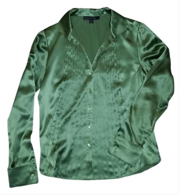 Lafayette 148 New York Silk Button Down Shirt green