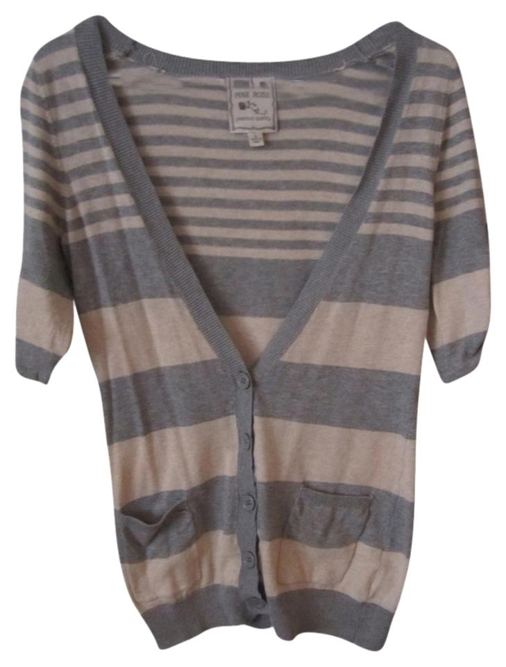 3ffcd9b0140 Pink Rose Gray and Cream Striped Sweater Cardigan Size 6 (S) - Tradesy