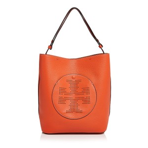 Tory Burch Perforated Logo Orange Leather Hobo Bag