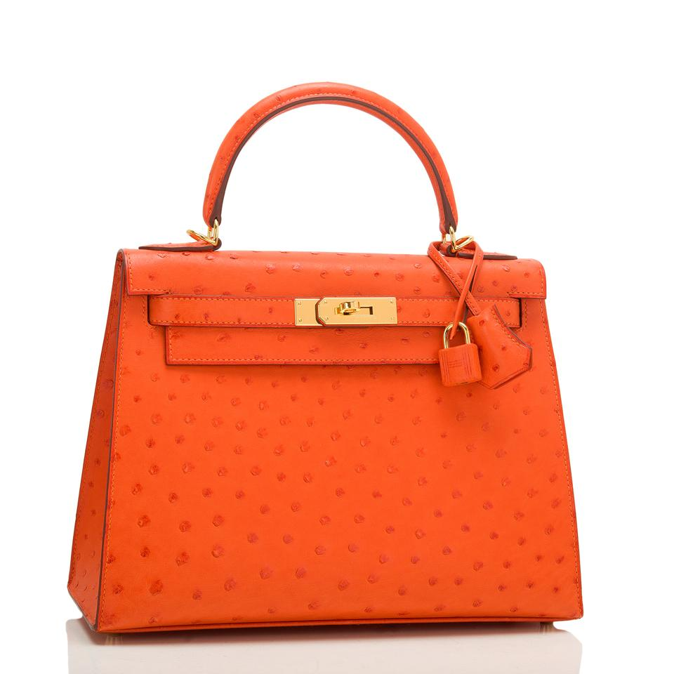 e944ff2b91b9 Hermès Kelly Tangerine Sellier 28cm Gold Hardware Orange Ostrich ...