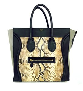 Céline Python Large Tote in Black/Grey