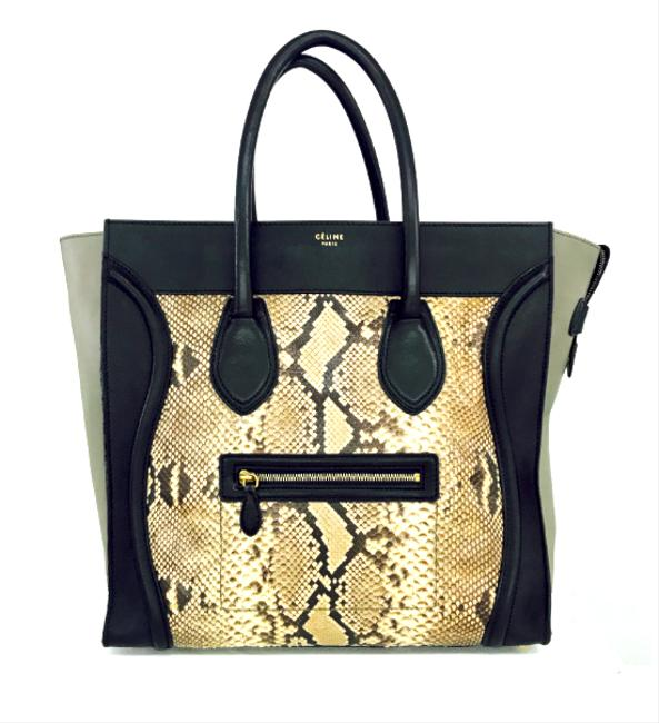 Céline Luggage And Black/Grey Leather/Python Tote Céline Luggage And Black/Grey Leather/Python Tote Image 1
