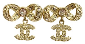 Chanel Chanel Gold 2017 Bow Ribbon Dangle CC Rhinestone Earrings