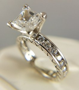 Other 2ct Princess Cut 14k Solid White Gold Engagement Ring Eternity Band