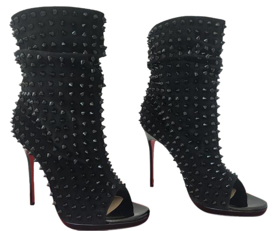 separation shoes 7caff 9cd23 Christian Louboutin Black Suede 37.5it Guerilla Spike Platform High Heel  Red Lady Fashion Toe Ankle Boots/Booties Size EU 37.5 (Approx. US 7.5) ...